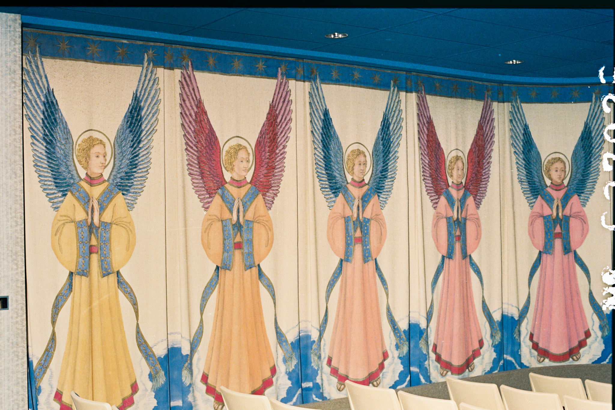 The former Grace Levinson Chapel curtains featured painted angels