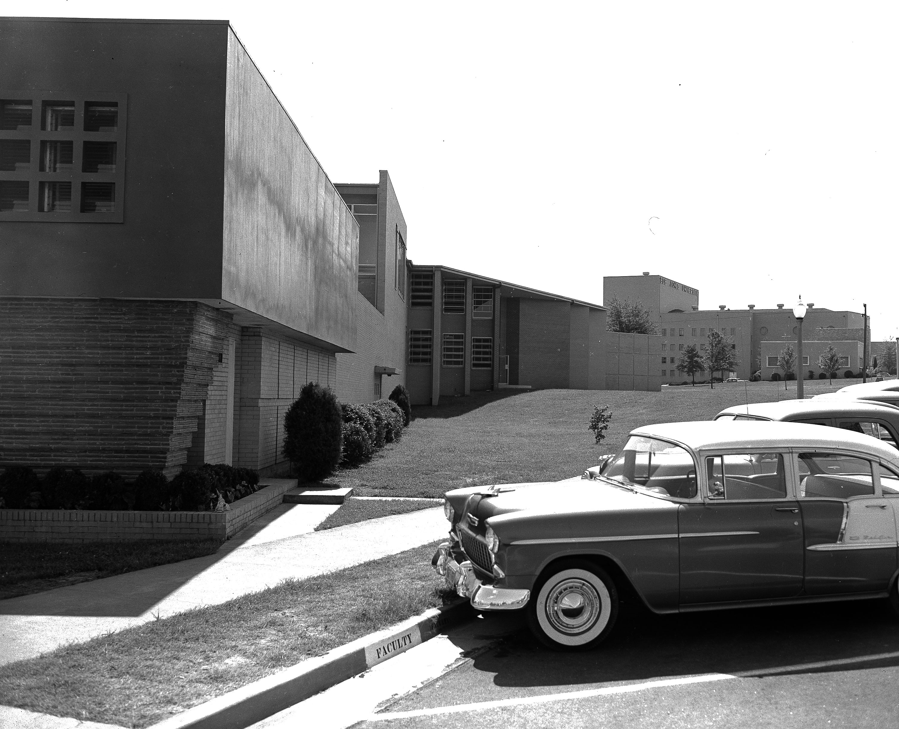 The exterior of the Fine Arts building, 1956
