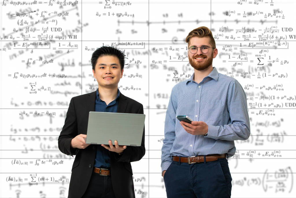 Nate Karamon and Carl Chen, actuarial science students who got actuarial science internships